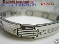 "1 MEN'S STAINLESS STEEL BRACELET, 8 1/4"" L,3/8""W OK4038"
