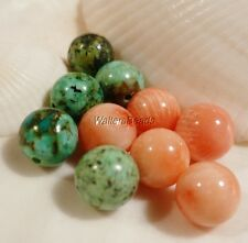 Natural Sea Coral Angelskin & African Turquoise Gemstone Design Bead Mix 8MM (10