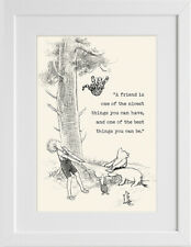 Winnie the Pooh Prints A Friend is One Posters Mounted A4 A5 Wall Art Decor #30