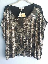 NEW Michael Kors Rich Olive Boxy Sequin Front Top Blouse Small S NWT $99
