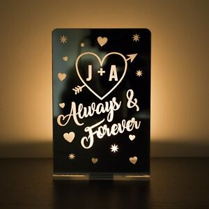 Personalised You + Me Always & Forever Tea Light Holder Candle Anniversary Gift