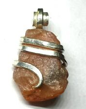 17.20 ct Natural Rough Carnelian Crystal in Sterling Silver Pendant Wrap