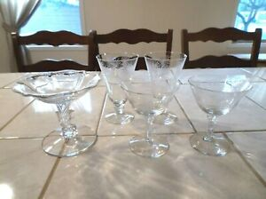 Lot of Fostoria 6017 Lido Sherbets, Footed Tumblers, Baroque Compote Comport