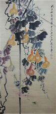 "Excellent Chinese 100% Handed Painting & Scroll ""Gourd"" By Qi baishi 齐白石 AW4"