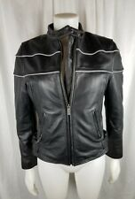 Wilsons Leather Motorcycle jacket moto black woman size small  riding night nice
