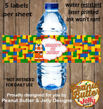 Personalised Lego Kids Birthday WATER BOTTLE Sticker Labels - 5 Per Page