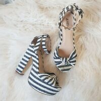 Just Fab Ladies 5 Shoes High Heels Sandals Lawern Stripe Knot Front WORN ONCE