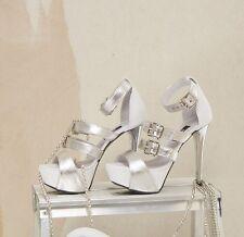 BY ALINA Damen Pumps Damenschuhe Weiss Silber High Heels 35 36 37 38 39 #V14