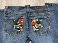 Women's Ed Hardy Christian Audigier Skull Heart Blue Jeans Size 26 Love Kills