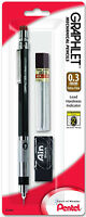 Pentel Graphlet Mechanical Pencil 0.3mm Black Hi-Polymer Eraser 12 Leads 4mm Tip
