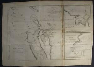 WAIHOU RIVER MERCURY BAY NEW ZEALAND 1774 COOK/BENARD/HAWKESWORTH ANTIQUE MAP