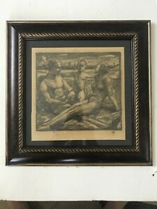 OTTO HETTNER Listed Artist (1875-1931) charcoal Nude Family on a Beach c1920