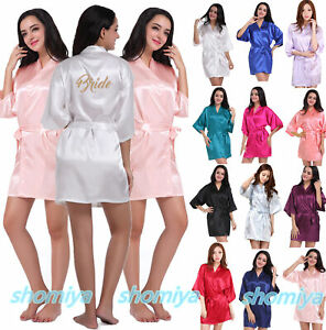 UK Personalized Wedding Robe Bridesmaid Bride Mother Dressing Gown Satin Silk