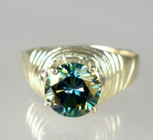 Free Delivery 5.21 Ct Blue Diamond Solitaire Men's 925 Sterling Silver Ring