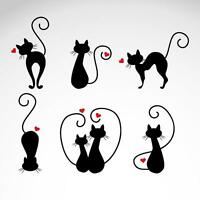x6 Cats Vinyl Sticker Glass Wall Decal Car Bumper Van Window Laptop Wall 019