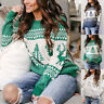 Womens Long Sleeve Sweater Blouse Ladies Christmas Knitted Jumper Pullover Tops