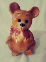 RARE Vtg Teddy Bear Planter Vase W/ Tongue & Lollipop & Bow Royal Copley