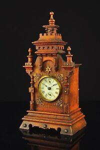 Antique German Mantel Alarm Clock with Brass Decoration approx.1900