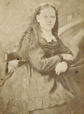 "1870s CDV Photo - Young Woman w/ Long Hair - ""Grandma Raezer"" - signed"