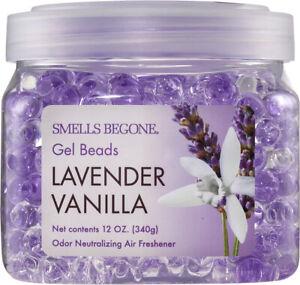 SMELLS BEGONE Odor Eliminator Gel Beads - Air Freshener - Lavender Vanilla Scent