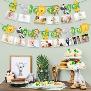Animal Safari 1st Birthday Bunting Banner Boys Girls Monthly Photo Props Decor