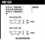 Hawk Perf HB103V.590 Disc Brake Pad for Buick Cadillac Chevrolet GMC