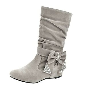 womens bow Boots Flats Booties Winter Casual Hippie Suede Western US size 2-14