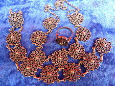 pretty,old jewelry set__necklace , Bracelet and Ring__900 Silver__