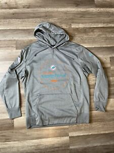 Miami Dolphins Gray NFL On Field Hoodie Sweater Dri Fit Therma Pullover Mens XL