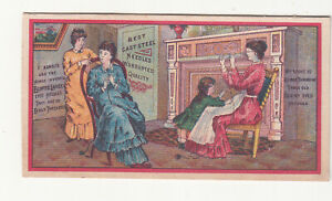 Eluptic Silver Steel Needles Ladies Sitting in Parlor Sewing Vict Card c1880s