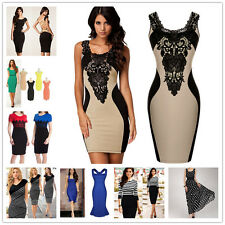 Fashion Lady Summer Lace Flowers OL Evening Formal Party Business Dress Hot Sale