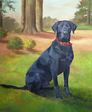 BLACK LAB, LABRADOR RETRIEVER, Dog Art Print from Original Oil by P. Tarlow