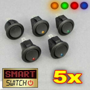 12V DC LED Lighted Dot Round Rocker Switch Button Car Van Boat 5 x Switches