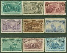 EDW1949SELL : USA 1893 Sc #230-38 Mint Original Gum Hinged Small faults Cat $549