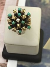 14K Handmade Yellow Cocktail Ring Size 8 Gold Turquoise &one Pearl