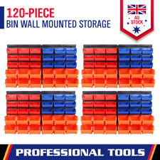 New 120Pc Garage Storage Tool Bin Wall Mounted Rack Parts Organiser Box Workshop