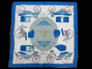Auth HERMES Scarf 70 100% Silk LES VOITURES A TRANSFORMATION Blue Good 97358