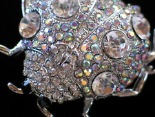 AB CLEAR SILVER RHINESTONE INSECT BEETLE FLYING LADYBUG PIN BROOCH JEWELRY 2""