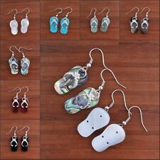 Silver Natural Abalone Shell Slippers Shape Hook Dangle Women's Earring Jewelry