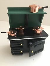 Dolls house Miniature range Cooker/Stove with copper pan 1:12 Streets Ahead (G)
