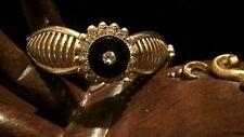 Stunning Golden Victorian Style Onyx and Rhinestones Bracelet, Vintage Jewelry