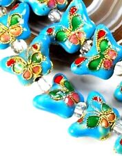 """Turquoise Blue Cloisonne Butterfly 10x15x6mm Beads 15"""" (Ot196)a for Diy Jewelry"""
