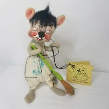Vintage Annalee Mobilitee Doll 1971 Painter Mouse Artist Paintbrush Tag NH USA