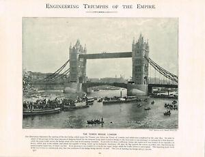 Tower Bridge Opening 1894 London Antique Print Victorian Picture 1899 TQET#169