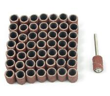 "100pcs 1/4"" 80 Grit Sanding Drum Sleeves Sander with 2 Mandrels for Dremel Tool"