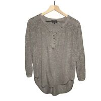 Lucky Brand Embroidered Hi Low Textured Top Size Small S Gray Women's