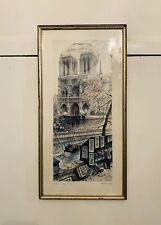 Signed 1960-70's Lithograph Of Notre Dame By Raphael Ortiz Alfau
