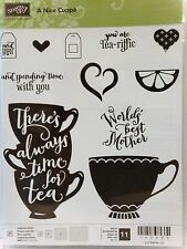 Stampin Up A NICE CUPPA photopolymer stamps coffee tea Worlds best Mother