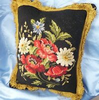 "VINTAGE Pillow Needlepoint Handmade FLORAL GOLD TRIM RED VELVET 18""X 15"""