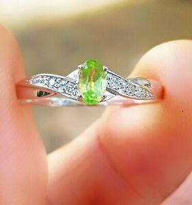 Genuine Peridot Diamond 9K White Solid Gold Ring Engagement Cocktail Dress